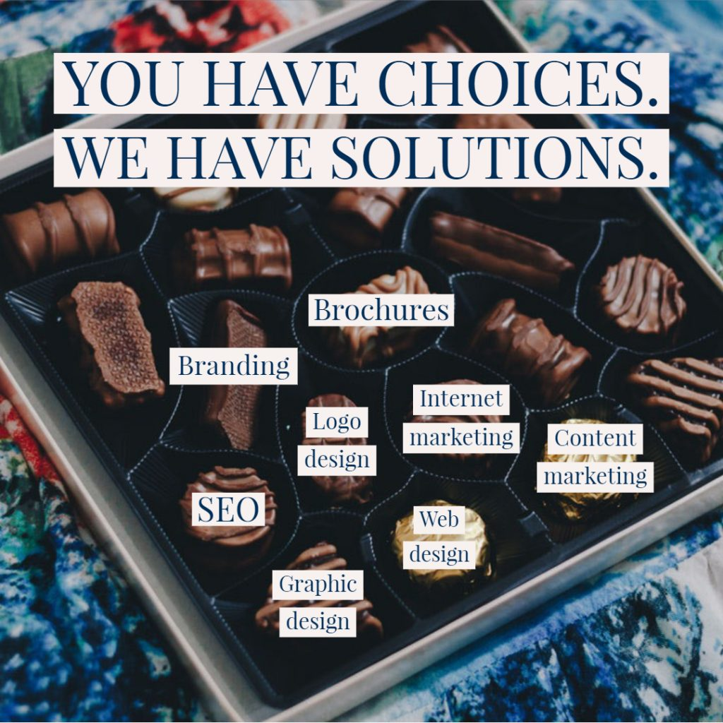box of chocolates internet marketing graphic