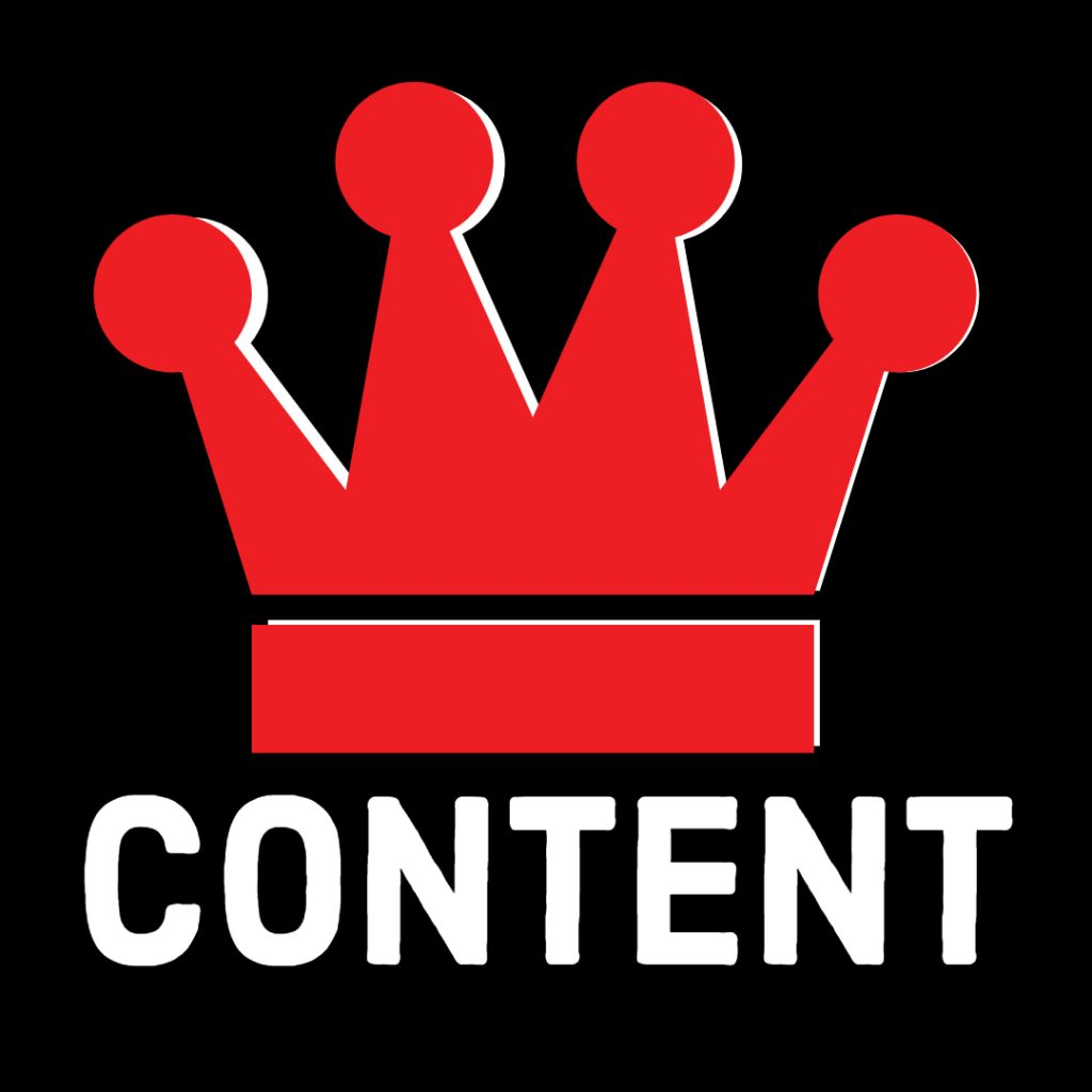 "Crown above the word ""content""."