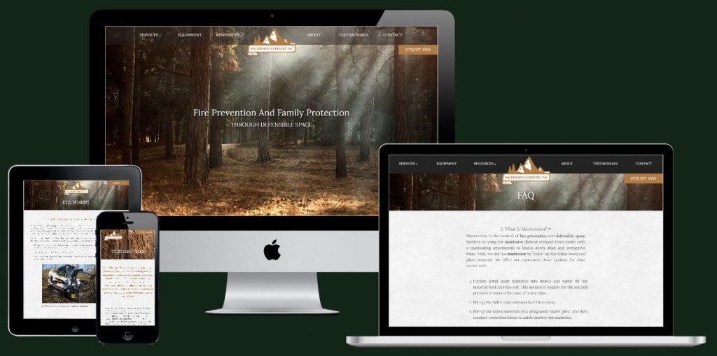Wilderness Forestry web design and local seo copy on multiple browsing devices.
