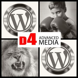 Lion, boxer, wordpress logo twice, D4 Advanced Media Logo